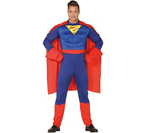 Guirca costume vestito abito travestimento carnevale halloween adulto supereroe, superman (taglia l (52-54))