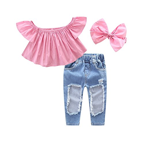 De feuilles Baby Toddler Girls Off Shoulder Polka Dot Top+Destroyed Ripped Jeans+Headband Clothes Outfit Set