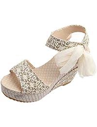 Gaorui-Lazos Sandalias Elegante con Tacón Alto y Plataforma de Moda con Diseño de Encaje