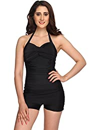 Nidhi Munim Women's Halter Black Boyleg Rouched Swimsuit