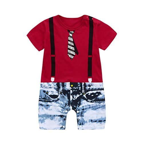 Dinglong Toddler Baby Boys Tie Overalls Jeans Floral Print Short Sleeve Romper Jumpsuit Age 2-4 Years Old