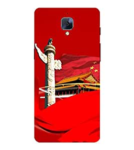 Fuson Designer Back Case Cover for OnePlus 3 :: OnePlus Three :: One Plus 3 (China Flag Tower House Culture Symbolic Reddish)