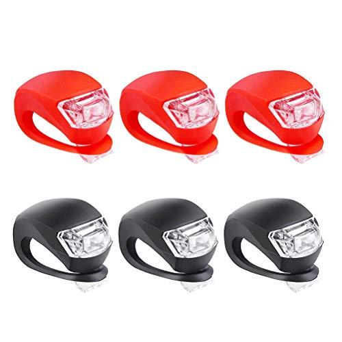 LED Fahrradlicht, Fahrradlicht Set LED Fahrrad Licht Nachtfahrten Sicherheit Warnung Frosch Geometrische Vorne Hinten Rücklicht für Kinderwagen Nacht Täglichen Gebrauch, 6 Stück