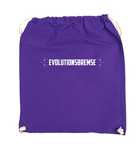 Comedy Bags - EVOLUTIONSBREMSE - Turnbeutel - 37x46cm - Farbe: Schwarz / Silber Lila / Weiss