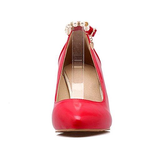 AllhqFashion Femme Stylet Couleur Unie Boucle Matière Mélangee Pointu Chaussures Légeres Rouge
