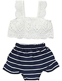 Conjuntos de ropa, Dragon868 Verano niña bebé niñas encaje rayas ropa + Shorts 2pcs/set