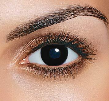 Farbige Kontaktlinsen HEROES OF COSPLAY Farblinsen Motivlinsen Farbige Kontaktlinsen für Cosplay, Halloween, Fasching GUT DECKEND BEQUEM zu tragen (Black OUT schwarz)