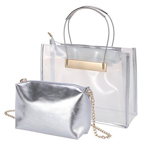LUOEM Transparente Handtasche Umhängetasche moderne Strand Freizeit Handbag 2-Taschen Einkaufstasche (weiß)