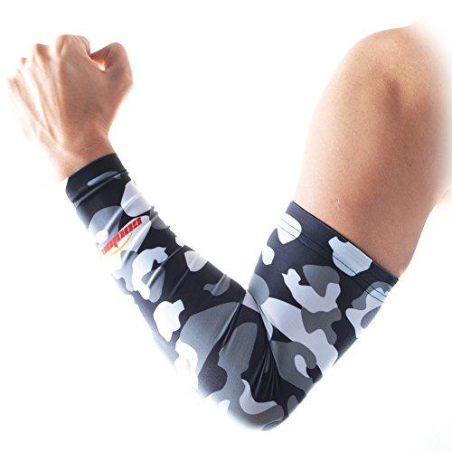 Erwachsene Kampfsport Bekleidung (COOLOMG Arm sleeves Armschoner Hautfreundlich Anti Rutsch Radsport Erwachsene Kinder 1 Stück Tarnung Graue XS)