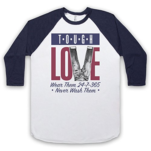 Tough Love Denim Jeans 3/4 Hulse Retro Baseball T-Shirt Weis & Ultramarinblau