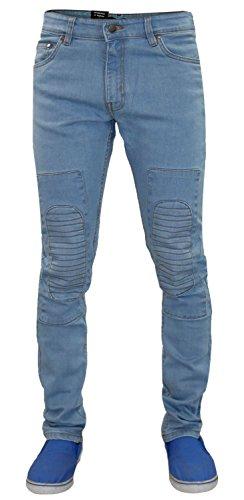Männer G72 Zip Fliegen Stretch Skinny Slim Fit Biker Denim Jeans Baumwolle Ripped Pants 01-Stone Wash