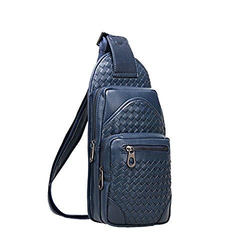 Yy.f Brusttasche Mann Tasche Beiläufige Art Und Weise Männer Leder Taschen Gewebte Umhängetasche Herren-Rucksäcke Taschen Normallack Schwarz Blau Blue