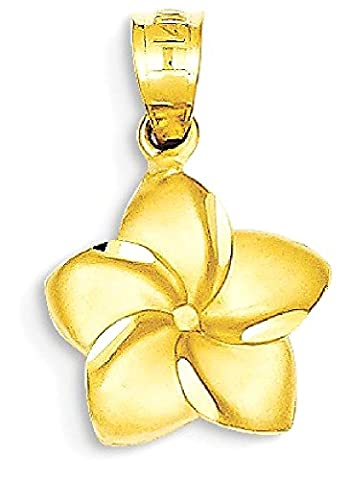 IceCarats 14k Yellow Gold Plumeria Floral Necklace Pendant Charm Necklace Pendant Charm