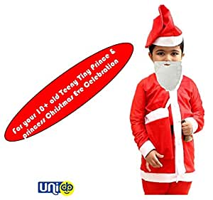 Selling Uniqness Santa Costume Suit Outfits with White Beard