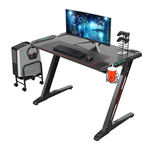 Eureka Ergonomic Z1-S Gaming Desk - Gaming Computer Desk, Gaming Table PC Gaming Desk mit LED-Leuchten, Kohlefaser, Getränkehalter und Kopfhörerhaken - Schwarz, MEHRWEG