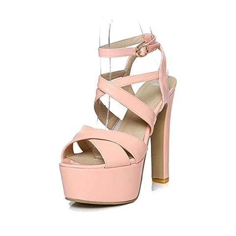 Été haute avec des chaussures tête de poisson/Thick avec des sandales/Cross-strap sandals-B Longueur du pied=23.8CM(9.4Inch)