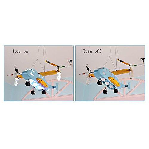 Augenschutz Flugzeug kreative Karikatur LED-Leuchten Kinderzimmer Kronleuchter Schlafzimmer Lampen Jungen Mädchen Raumbeleuchtung [Effizienzklasse : A +] - 5