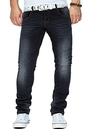Reichstadt Herren Jeans Hose Freizeit Kontrastnaht Streetwear Dope Swag Regular Schwarz
