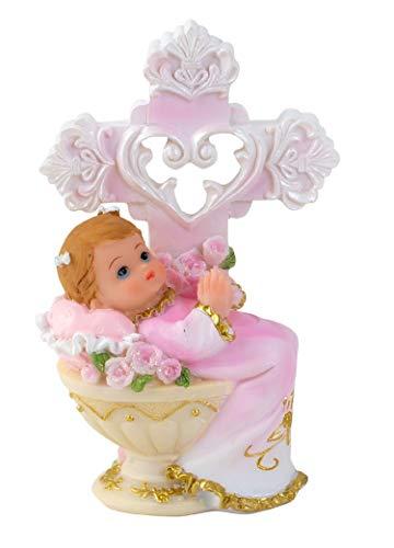 Melo Tortenaufsatz Tortenfigur Dekofigur Baby Tauffigur Taufe Geburt Taufbecken Taufbrunnen mit Kreuz | 11,5 cm (Rosa)