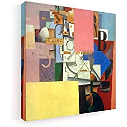 Kasimir Malewitsch - Dame an der Litfaßsäule - 40x40 cm - Premium Leinwandbild auf Keilrahmen - Wand-Bild - Kunst, Gemälde, Foto, Bild auf Leinwand - Alte Meister/Museum