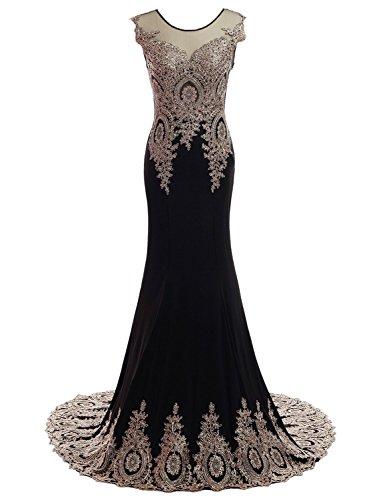 CoutureBridal® Robe de Soirée Cocktail Bal Robe Longue Gold Appliques Noir