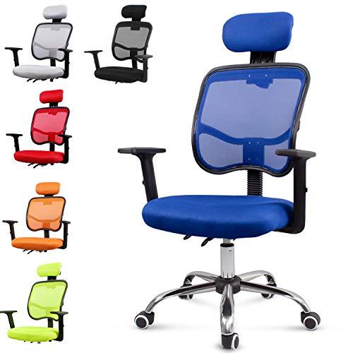 EUCO Chaise de Bureau Bleue inclinable Chaise de Bureau Chaise à Dossier Haut pour Ordinateur Chaise de Bureau à Support Dorsal avec Bras réglables Chaise pivotante Confortable