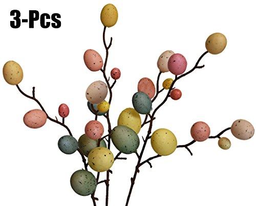 3pcs decorazioni di pasqua, funpa creative branch con uova di pittura easter egg decor forniture di pasqua per la casa