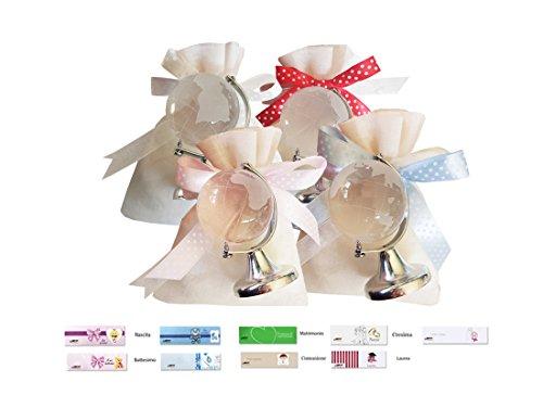 12 sacchetti organza bianchi + 12 decorazioni mappamondo + nastrino pois + bigl