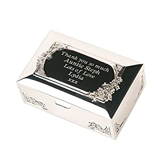 Engraved Silver Plated Godmother Trinket Box, Personalised Godmother Gift