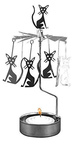 Pluto Produkter - Soporte para vela (giratorio, 16 x 6,5 cm), diseño de gatos, color plateado
