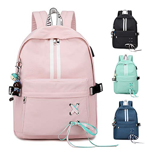 FEDUAN Campus Rucksack Schultasche Schulrucksack Studententasche Laptop-Rucksäcke mit USB/Kopfhörer Anschluss Tagesrucksack modisch Reiserucksack Mädchen Jungen Teenager groß 18L M4 rosa pink