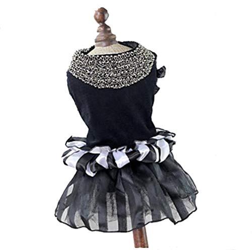YAMEIJIA Hunde/Katzen Kleider Hundekleidung Voiles Und Sheers/Einfarbig Schwarz/Weiß Terylen Kostüm Für Haustiere Weiblich Ordinär/Modisch,XL -