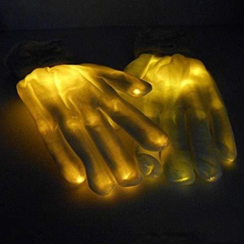 TUWEN Led Leuchtende Leistung Handschuh Neuheit Knochen Leuchtende Handschuh Rainbow Halloween Weihnachten Glow Geschenk Handschuh