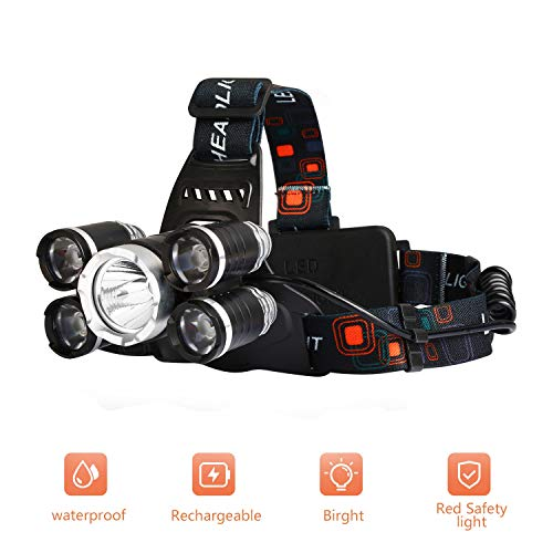 Yizhet 8000 Lumen LED Haute Puissance Lampe Frontale, 5 Modes Lampe Torche LED Rechargeable, étanche Tête Lampe de Poche Lampe Frontale pour Camping Randonnée Cycliste Pêche Chasse