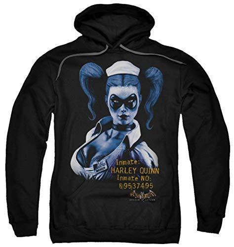 Trevco Batman Arkham Harley Quinn Herren Kapuzen-Sweatshirt, Schwarz, Herren, schwarz, X-Large (Quinn Hoodie Harley)