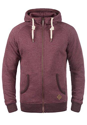!Solid Vitu Herren Sweatjacke Kapuzenjacke Hoodie mit Kapuze und Reißverschluss aus 100% Baumwolle, Größe:XL, Farbe:Wine Red Melange (8985)