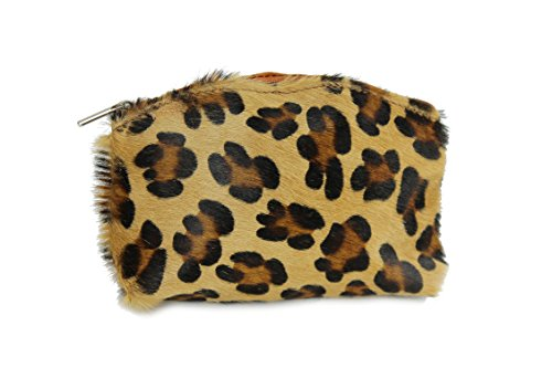 """'Belli® """"Bellini piccola in vera pelliccia in vera pelle trousse Make Up Astuccio Zebra Leo mucca-18x 13x 5cm (L x A x P), marrone (leo), 18x13x5 cm (B x H x T)"""