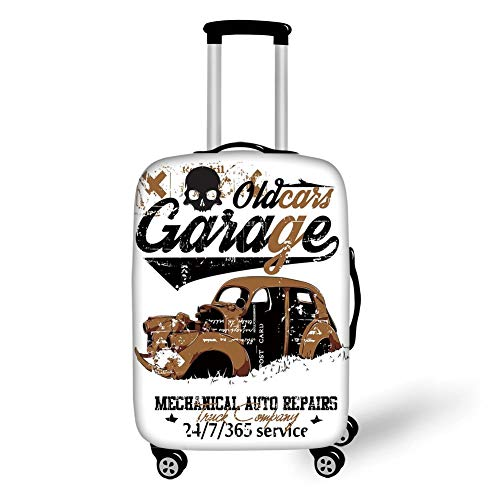 Travel Luggage Cover Suitcase Protector,Cars,Old Garage Mechanical Auto Repairs Truck Company Skull Grunge Display Decorative,Pale Brown Black White,for Travel,S