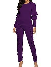 Fräulein Fox Primavera y Otoño Mujer Casual Camisetas de Manga Larga Top Blusa tee Sudaderas Blouse Camisa + Apretado Largo Pantalón Lado de la Hoja de Lotus 2 Piezas Conjunto