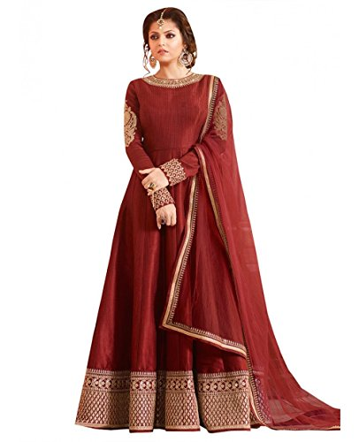 Drashti villa Woman's Maroon Color Embroidered Semi-stitched Indo-Western Gown (Maroon)