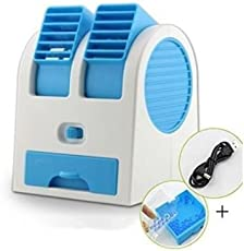 Moradiya fresh Plastic Dual Bladeless Mini Air Conditioner Cooling Fragrance Fan(Multicolour)