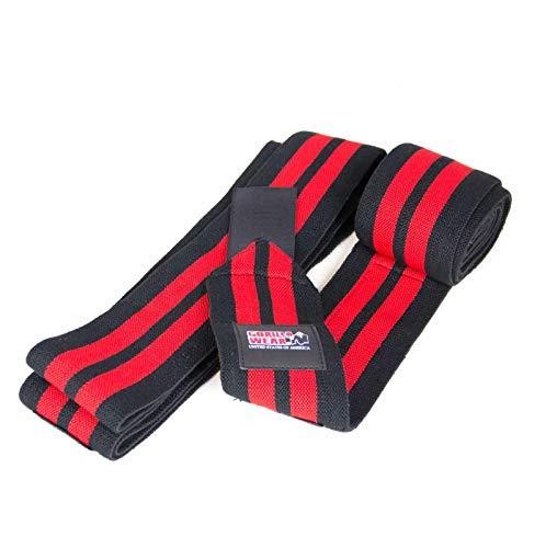 Gorilla Wear Knee Wraps 98 Inch - schwarz/rot - Bodybuilding und Fitness Accessoire