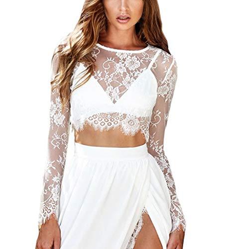 Andouy Mesh Crop Top Damen Spitze Blume Durchsichtig Transparent Langarm Shirt Größe 36-42 Sexy Party Bluse(Weiß,38)