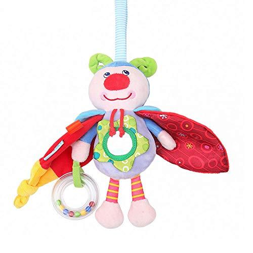 Deanyi Babybett Haning Spielzeug Puppe Baby-Kinderwagen Spielzeug Waschbar Quietsche-Auto Spielzeug für Kinder Hänge Spielzeug für Krippe mit Rattle Ring Spiegel für Selbstentdeckung Beißringe -