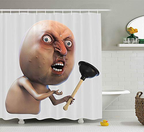 VVIANS Humor Decor Shower Curtain, Why You No with Plunger Guy Meme with Long Face Angry Grumpy Washroom Design, Fabric Bathroom Decor Set with Hooks, 60 * 72 Inch, Tan Peach