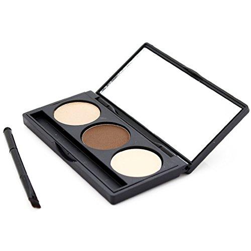timesong 3 couleurs Eye Sourcils Sourcils Pinceau Poudre Palette Kit de maquillage avec miroir