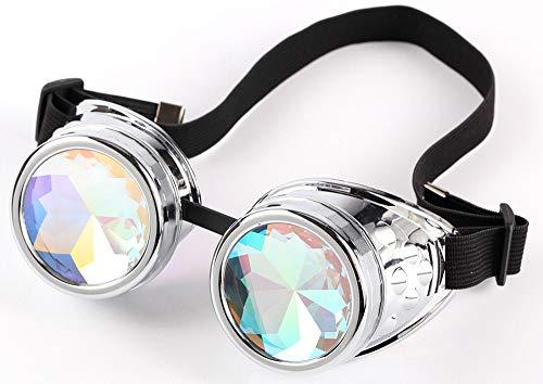 KOLCY Steampunk Brillen Coole Schutzbrillen Kaleidoskop Partybrillen Silber Rund Schmuck Sonnenbrille Accessoire Retro Einstellbar