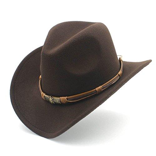 HXGAZXJQ Fashion Damen Westernhut Cowboyhut mit Punkblett aus Filz Cowgirl Sombrero Caps, Coffee, 55-58 cm
