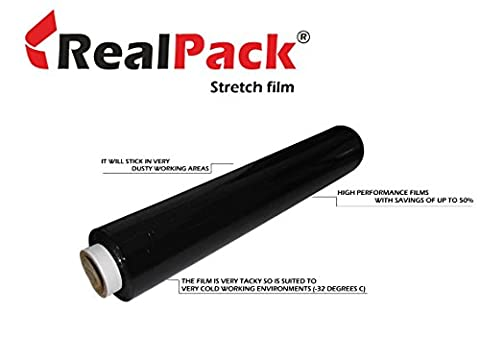 REALPACK® 1 x BLACK FLUSH CORE STRONG ROLLS PALLET STRETCH SHRINK WRAP CAST PARCEL PACKING CLING FILM - 400mm X 300m IDEAL FOR WRAP FREE FAST