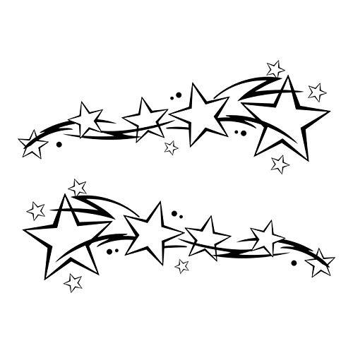 kleb-Drauf®   2 Sternenschweife   Schwarz - matt   Autoaufkleber Autosticker Decal Aufkleber Sticker   Auto Car Motorrad Fahrrad Roller Bike   Deko Tuning Stickerbomb Styling Wrapping -